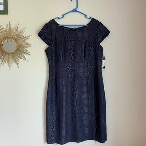 Tahari Navy Shimmer Snakeskin Sheath Dress 16 NWT